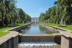 Peterhof. Grand Cascade Fountains At Peterhof Palace garden, St. Petersburg royalty free stock image