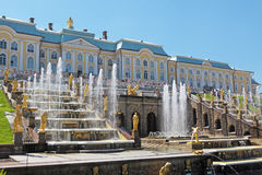 Peterhof. Grand Cascade Fountains At Peterhof Palace garden, St. Petersburg stock image
