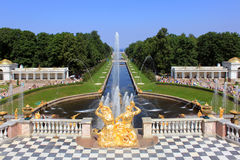 Peterhof. Sea Canal and the Grand Cascade in Peterhof royalty free stock photo