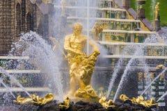 森山喷泉在Peterhof,俄罗斯 免版税库存照片