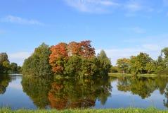 与一个池塘的秋天风景在公园 peterhof 免版税库存照片