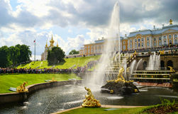 Peterhof. Amazing fountains in Peterhof, St. Petersburg, Russia royalty free stock images