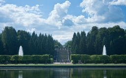 Peterhof. Big Marly Pond and Cascade Gold Mountain Stock Images