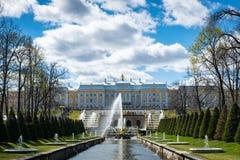 Peterhof-Brunnen und Palastansicht und -touristen in St Petersburg lizenzfreie stockfotografie