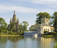 Peterhof, cathedral of St. Peter and St. Paul and palace of prin Royalty Free Stock Photos