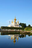 Peterhof. Church in Amazing Peterhof in summer, St. Petersburg royalty free stock photos