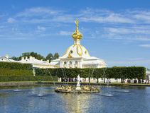 Peterhof, church and fountain Royalty Free Stock Photos