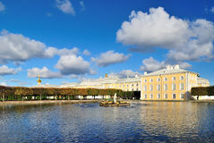 Peterhof. The East Square  pond Royalty Free Stock Photos