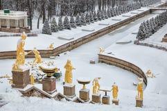 Peterhof en hiver Images libres de droits