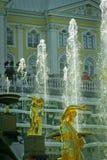 peterhof för slott för kaskadspringbrunnar storslagen Fotografering för Bildbyråer