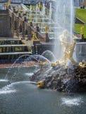 peterhof för slott för kaskadspringbrunnar storslagen Arkivbild