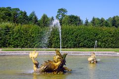 Peterhof, the figure of the Dolphin Royalty Free Stock Photography