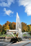 Peterhof. Fontein Samson royalty-vrije stock foto