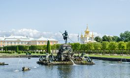 Peterhof fountain Neptune Stock Images
