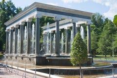 Peterhof fountain.  St.Petersburg, Russia. Stock Photos