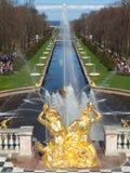 Peterhof fountains spring Stock Image