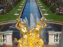 Peterhof fountains spring Royalty Free Stock Image