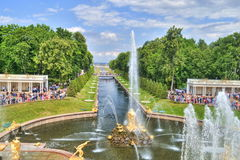 Peterhof. Fountains in Peterhof, St. Petersburg, Russia royalty free stock photos
