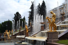 Peterhof Gardens Fountains Stock Photo