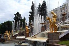 Peterhof Gardens Fountains Stock Photo
