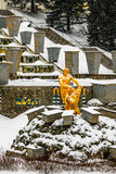 Peterhof Grand Cascade in winter Royalty Free Stock Photography
