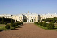 Peterhof Grand Palace. Grand  Palace view in Peterhof's park Stock Photo