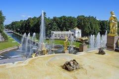 Peterhof, grande cascata Fotografia Stock