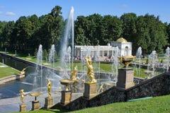 Peterhof, grande cascata Immagini Stock