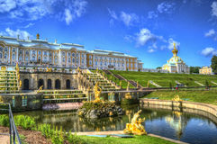 Peterhof. The Great Palace and Church in the Lower Park in Peterhof, St. Petersburg, Russia royalty free stock images