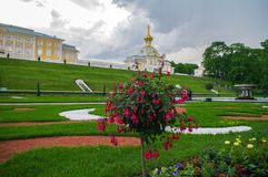 PETERHOF, HEILIGE PETERSBURG, RUSLAND - JUNI 06, 2014: het Hogere Parkpaleis werd omvat in de Unesco-Lijst van de Werelderfenis Royalty-vrije Stock Foto's
