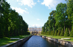 Peterhof. The lower Park in Peterhof, St. Petersburg, Russia royalty free stock photos