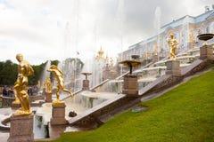 Peterhof-Museum-Reserve, berühmte Kaskade von Brunnen fnd goldenen Skulpturen nahe dem Peterhof-Palast Lizenzfreie Stockbilder