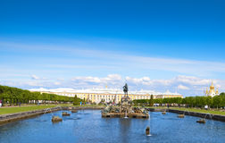 The Peterhof Palace. Is a series of palaces and gardens located in Saint Petersburg, Russia, laid out on the orders of Peter the Great. These Palaces and gardens Royalty Free Stock Photos