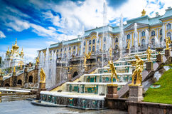 The Peterhof Palace. Is a series of palaces and gardens located in Saint Petersburg, Russia, laid out on the orders of Peter the Great. These Palaces and gardens Stock Photo