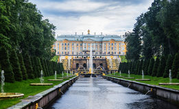 Peterhof Palace complex and fountain grand cascade 18 centure, S Royalty Free Stock Photography