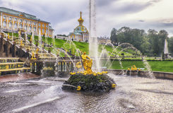 Peterhof Palace complex and fountain grand cascade 18 century Royalty Free Stock Photo