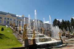 Peterhof Palace fountains Stock Photos