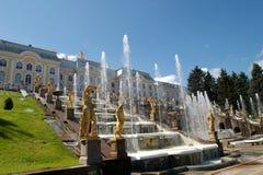 Peterhof Palace fountains stock photos