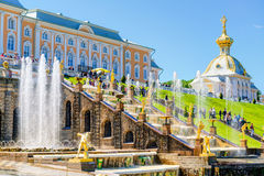 Peterhof Palace with Grand Cascade in Saint Petersburg, Russia Stock Photos