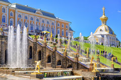 Peterhof Palace with Grand Cascade, Saint Petersburg Stock Images