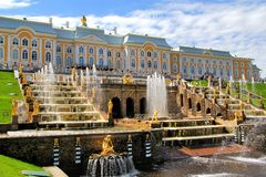Peterhof Palace, Russia. Grand Cascade in Peterhof Palace, Saint Peresburg, Russia royalty free stock photo