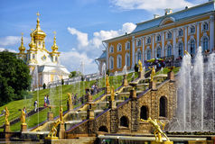 Peterhof palace in Saint-Petersburg, Russia. Peterhof palace in Saint-Petersburg and the famous fountain, Russia Stock Image