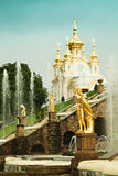 Peterhof Palace Saint Petersburg Russia. Fountain Grand Cascade. And Church Stock Photography