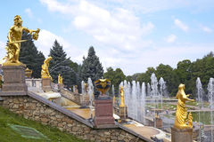 Peterhof Palace, Saint Petersburg, Russia. The Grand Cascade Marine Canal at Peterhof Palace near St Petersburg Russian Federation Gulf of Finland Royalty Free Stock Photos