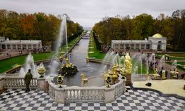 Peterhof Palace in Saint Petersburg, Russia. St. Petersburg, Russia - Oct 9, 2016. Grand Cascade of Peterhof Palace in St. Petersburg, Russia. Grand Cascade is Royalty Free Stock Photo