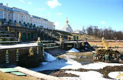 The Peterhof Palace is a series of palaces and gardens located in Petergof, Saint Petersburg, Russia Stock Image