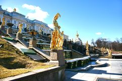 The Peterhof Palace is a series of palaces and gardens located in Petergof, Saint Petersburg, Russia Royalty Free Stock Photography