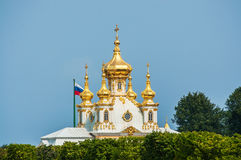 Peterhof Palace St Petersburg, Russia. Golden domes of museum Special Storeroom in Lower Park. The Peterhof Palace Stock Photo