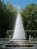 Peterhof. The Pyramid fountain in Nizhny park Stock Photos