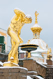 Peterhof Rússia O fauno Florentine Sculpture foto de stock royalty free